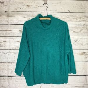 LOFT Teal 3/4 Sleeve Cowl Neck Sweater Sz L NWT